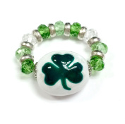 Linpeng FR-27A Fiona Painted Glass Beads St. Patrick's Finger Ring