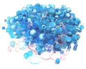 Linpeng Acrylic Beads 60ml Bag, 4x13mm, Assorted Aqua