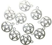 AvBeads Pentacle/Pentagram Charms Antique Silver, 20mm x 17mm, 10 Pieces