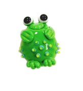 Linpeng Lampwork Glass Novelty Bead, 30 x 22 x 17mm, Green Frog with Spots on Its Body