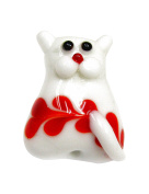 Linpeng Lampwork Glass Novelty Bead, 29 x 22 x 12mm, White Cat with Orange Pattern on Its Tummy