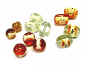 Linpeng 052715-18 Hand Painted Doggies and Bones Glass Beads