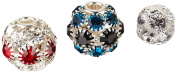 Linpeng 3 Piece Assorted Set Rhinestones Charms/Large Hole Spacer Beads, 14 to 21mm