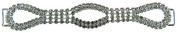 Mode Beads Rhinestone Connector with 3 Ovals, 14cm , Crystal/Silver