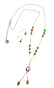 Linpeng Fiona Hand Painted Santa Claus Bead/Crystal Beads Necklace and Earrings Set