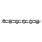 Mode Beads Rhinestone Connector Octagon Chain, Crystal/Silver/Light Sapphire/Silver, 19cm