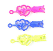 Midwest Design Imports 3-Piece Loom Band Charms Set, Neon Double Heart with Arrow, Blue/Yellow/Pink