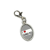 Graphics and More I Love Heart Guinea Pigs Antiqued Bracelet Pendant Zipper Pull Oval Charm with Lobster Clasp