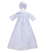 Cinda Baby Long Sleeves Satin Christening Long Gown and Bonnet