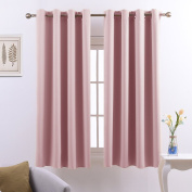 Eyelets Blackout Windows Curtains Panels - PONYDANCE Premium Thermal Insulated Window Drapes for Living Room, W 130cm by L 140cm , Set of 2 panels, Light Pink