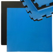 eyepower Puzzle Mat 1x1m | interlocking extensible EVA foam pad | expandable with other mats | perfect for sport fitness yoga judo gymnastics etc | extra thick 25mm | 2-colours reversible Black / Blue