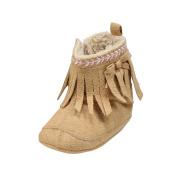 ROPALIA Baby Girls Tassel Plus Velvet Snow Boot Winter Anti-slip Shoes