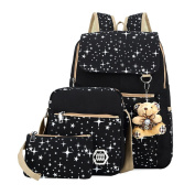 Sanrense® Girl's Canvas 3 pcs Patterned Bling Star School Backpack 4 colours