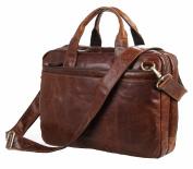 Jsix Mens Genuine Leather Handbags Briefcases Laptop Shoulder Bag Brown