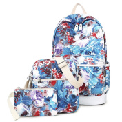 Artone Artistic Flowers School Bag Daypack Casual Backpack With Crossbody Bag And Pencil Case Blue