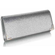 Womens Large Glitter Flap Over Evening Clutch Bag (30cm x 13cm ) with PreciousBags Dust Bag