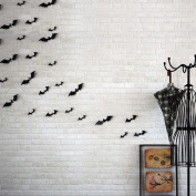 Boldion(TM) 12pcs Black 3D DIY PVC Bat Wall Sticker Decal Home Halloween Decoration