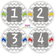 Baby Monthly Stickers - Baby Chevron Month Stickers - Baby Shower Gift