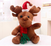 Soft Toy Christmas Reindeer Beanie Toy 20 cm With Scarf and Christmas Hat for Kids Baby Boys Girls Birthday Christmas Gift Home Decoration, One Drawstring Pocket Send Free