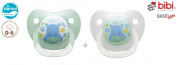 "BIBI SWISS Basic Care ""GREEN HIPPO"" Nr.112841 - 2x Pacifiers Soothers Dummnies Anatomical Dental Silicone/ GREEN + WHITE"