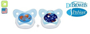 "DR BROWN ""PRE VENT"" Nr.PV22402 - 2x Soothers Pacifiers Dummies Orthodontic Silicone Suction Air Free Channel/BLUE"