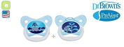 "DR BROWN ""PRE VENT"" Nr.PV12402 - 2x Soothers Pacifiers Dummies Orthodontic Silicone Suction Air Free Channel/BLUE"
