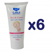 C.M.S Medical Zinc & Castor Nappy Rash Cream Skin Care Soothing 100g Tube x 6