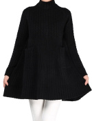 Vogstyle Women's New Mock-Neck Long Sleeve Cable Knit Pullover Sweater with Pockets
