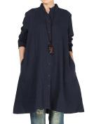 Vogstyle Women's Autumn Cotton Linen Full Front Buttons Shirt Dress with Pockets