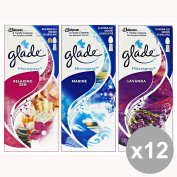 Set of 12 GLADE Microspray Reload Bath-MARINE-Relaxing Lavender Candles and Fresheners