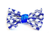 Great Ud Fabric Lace N & # X153 Size Hair Barrette - Blue