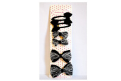 Set/6 with Lace Bow - Black