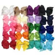 20cm baby Boutique Grosgrain Ribbon Hair Bows Clips for Baby girls Hair bows Pack of 20