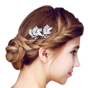 Miya 1 Piece Mega Glamour Bridal Comb Hair Comb Hair Pin with Lovely Flowers, Embellished with Pearls & Crystals - Bridal Jewellery Wedding/Confirmation (, Flower YY21