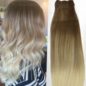 """14""""16""""18""""20""""22"""" 100G Light Brown Ombre Blonde Hair Extensions Remy Real Straight Human Hair Weft"""
