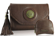 FERETI Brown cognac handbag clutch with matching coin purse and 3D lion Shoulder Bag