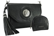 FERETI Black handbag clutch with matching coin purse silver and 3D lion Shoulder Bag