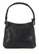 Large luxury Textured Leather Shoulder Bag in Black ladies fashion handbag