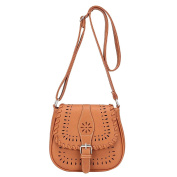 Women's Vintage Shoulder Bag Faux Leather Hollow Pattern Crossbody Bags Tote Satchel Light Brown