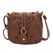 Ladies Handbags Fashion PU leather Portable Shoulder Bag Weaving Style Messenger Bag Red Brown