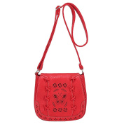 Womens Vintage PU Leather Small Shoulder Bag Hollow Pattern Messenger Bags College Handbag Watermelon Red