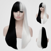 white and black long straight neat bangs the wind nightclub performances Street colour million with a partial Halloween wig