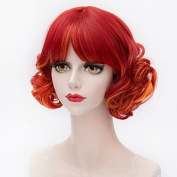 Halloween Wigs Red gradient colour neat bangs small volume Small and pure and fresh college wind Lolita Cosplay wig