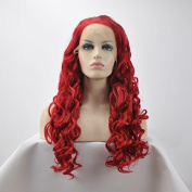 premium hot red deep wave wigs long natural red curly wave glueless synthetic lace front wigs heat resistant fibre hair