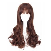 Elenxs Women's Long Curly Wave Wigs with Neat Bangs for Daily Cosplay 5 Colours honey