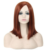 Tonake Shoulder-length Straight Cosplay Party Wigs Red Wine Synthetic Hair Wig for Women