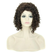 Tonake Women Short Small Curly Wigs Dark Brwon Synthetic Hair Wig