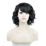 Tonake Women Short Curly Cosplay Party Wigs Pure Black Synthetic Hair Wig