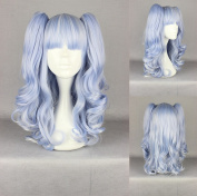 Women's Wig Cosplay Wig with Clip In Light Blue Curly Pigtails Approximately 50 cm