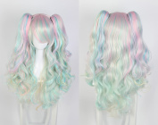 Women's Wig Cosplay Wig with 2 Braids in Pink Clip in Blue/White ca. 70 cm